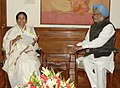 The Chief Minister of West Bengal, Kumari Mamata Banerjee meeting the Prime Minister, Dr. Manmohan Singh, in New Delhi on February 22, 2012.jpg
