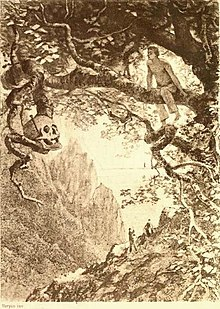 Elaborate drawing of a man sitting on a tree limb, looking at a skull on one of its branches. Two small figures can be seen on the slopes beneath him.