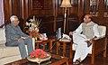 The Governor of Jammu & Kashmir, Shri N.N. Vohra calling on the Union Home Minister, Shri Rajnath Singh, in New Delhi on May 30, 2014.jpg