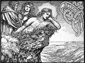 Skaði - Njörðr, Skaði, and Freyr as depicted in The Lovesickness of Frey (1908) by W. G. Collingwood.
