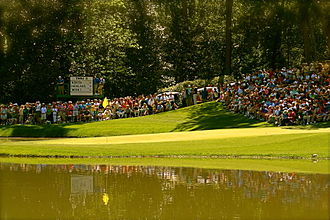 Masters Tournament - The 9th hole on the par 3 course.