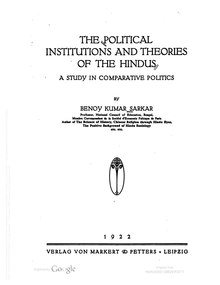 The Political Institutions and Theories of the Hindus.pdf