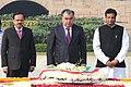 The President of the Republic of Tajikistan, Mr. Emomali Rahmon paying homage at the Samadhi of Mahatma Gandhi, at Rajghat, in Delhi.jpg