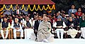 The Prime Minister, Shri Narendra Modi at Gandhi Smriti, on the occasion of Martyrs' Day, in New Delhi on January 30, 2018. The former Prime Minister, Dr. Manmohan Singh is also seen (1).jpg