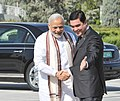 The Prime Minister, Shri Narendra Modi being welcomed by the President of Turkmenistan, Mr. Gurbanguly Berdimuhamedov, at Independence Square, in Oguzkhan Palace, Ashgabat, Turkmenistan on July 11, 2015.jpg