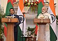 The Prime Minister, Shri Narendra Modi delivering his statement to the media at the joint media briefing with the President of the Republic of Maldives, Mr. Abdulla Yameen Abdul Gayoo, in New Delhi on April 11, 2016 (1).jpg