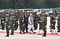 The Prime Minister, Shri Narendra Modi inspecting the Guard of Honour, during his Ceremonial Welcome, at Hazrat Shahjalal Airport, Dhaka on June 06, 2015.jpg
