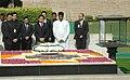 The Prime Minister of Thailand, Mr. Abhisit Vejjajiva paying homage at the Samadhi of Mahatma Gandhi at Rajghat, in Delhi on April 05, 2011.jpg