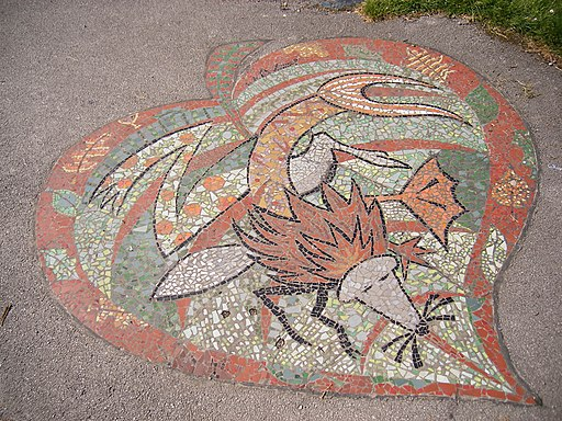 The River Cole - mosaic of a dragon fly in a heart near the Stratford Road (4193254411)