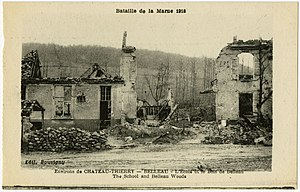 Second Battle of the Marne - Postcard showing ruins of the village in 1918.