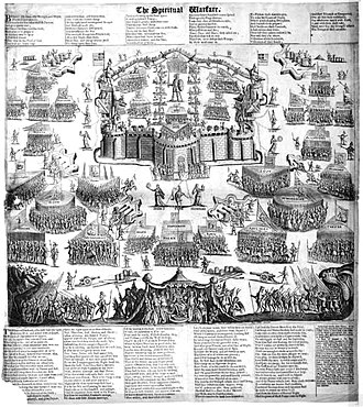 "Spiritual warfare - The Spiritual Warfare (c1623), a print by Martin Droeshout depicting the devil's army besieging a walled city held by a ""Christian Soldier bold"" guarded by figures representing the Christian virtues. It has been suggested that this print may have influenced John Bunyan to write The Holy War."