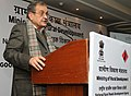 The Union Minister for Rural Development, Panchayati Raj, Drinking Water and Sanitation, Shri Chaudhary Birender Singh delivering the keynote address on the occasion of the Pradhan Mantri Gram Sadak Yojana Divas.jpg