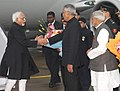 The Vice President, Shri Mohd. Hamid Ansari being received by the Governor of Uttar Pradesh, Shri B.L. Joshi, on his arrival at Lucknow Airport, in Lucknow, Uttar Pradesh on January 09, 2014.jpg