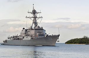 The guided missile destroyer USS Michael Murphy (DDG 112) returns to Joint Base Pearl Harbor-Hickam, Hawaii, March 29, 2013 130329-N-KT462-027.jpg