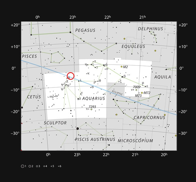 Posisi bintang TRAPPIST-1 di rasi Aquarius. (Sumber: The ultracool dwarf star TRAPPIST-1 in the constellation of Aquarius, WIkipedia, CC)