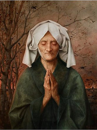 Prayer - Old woman praying by Théophile Lybaert