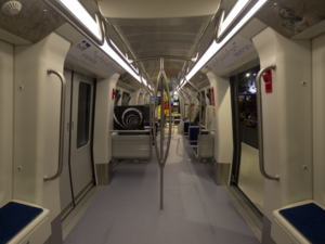 Interior of a Thessaloniki Metro AnsaldoBreda Driverless Metro unit