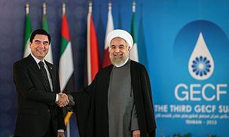 Gurbanguly Berdimuhamedow - Berdimuhamedow with Iranian President Hassan Rouhani during the Third GECF summit.