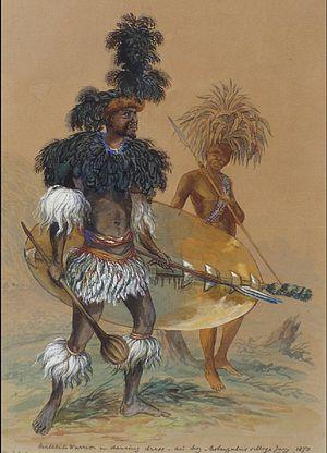 Northern Ndebele people - Matebele warrior in dancing dress, by Thomas Baines