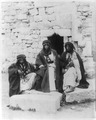 Three Bedouin men in front of wall LCCN2001705573.tif