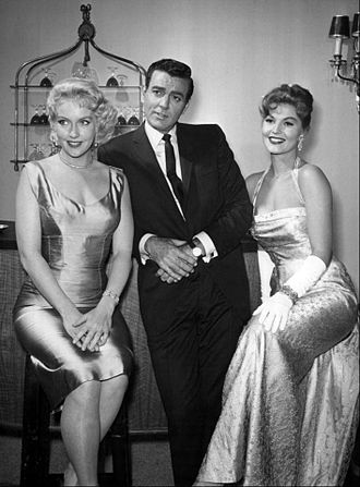 Leigh Snowden - Snowden (left) with Mike Connors and Claire Kelly in a promotional picture for Tightrope