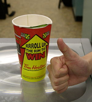 A winning Tim Hortons Roll up the Rim to Win cup