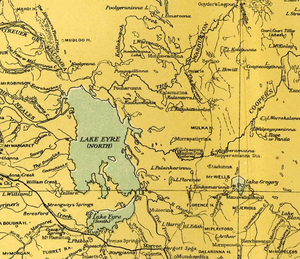 Tirari Desert - 1916 map of Tirari Desert and environs. (Note:the desert is not labelled or delineated)