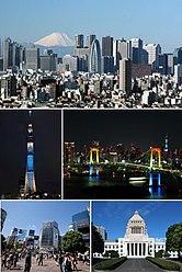 From top to bottom (left to right): Shinjuku and Fuji-san skyscrapers, Tokyo Skytree, Rainbow Bridge and Akasaka in the background, Shibuya, Parliament building