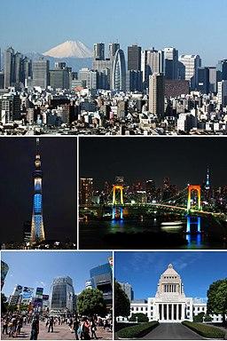 Fra top til venstre:   Shinjuku, Tokyo Tower, Regnbågsbron, Shibuya, Japans parlament.