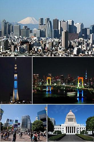 Tokyo - Clockwise from top: Nishi-Shinjuku, Rainbow Bridge, National Diet Building, Shibuya, Tokyo Skytree