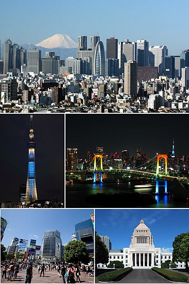 Clockwise from top: Nishi-Shinjuku business district, Rainbow Bridge, National Diet Building, Shibuya, Tokyo Skytree