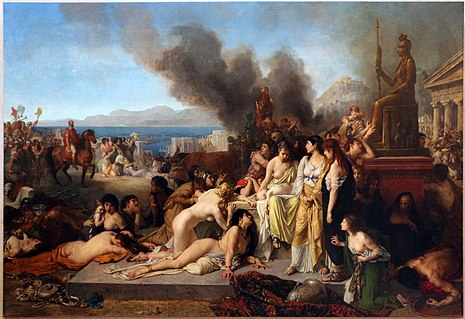 Scene of the Battle of Corinth (146 BC): last day before the Roman legions looted and burned the Greek city of Corinth. The last day on Corinth, Tony Robert-Fleury, 1870 Tony robert-fleury, l'ultimo giorno di corinto, ante 1870.JPG