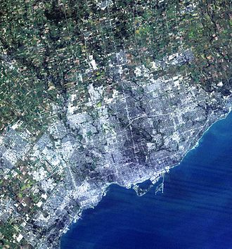 Greater Toronto Area - Satellite image of the Greater Toronto Area from the mid-1980s