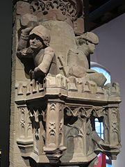 Tourelle à créneaux défendue par deux soldats jetant des pierres