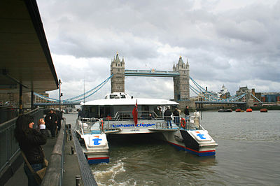 A river bus at Tower Millennium Pier