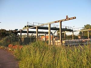Overhead crane - Gantry-style overhead crane at the Skanska precast concrete factory in Hjärup