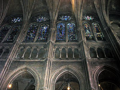 Elevation Of Nave At Chartres Cathedral 1220 The Tribune Has Disappeared And Windows Have Gotten Higher