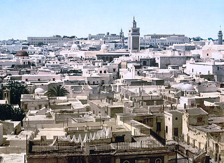View of Tunis c. 1890-1900. Zaytuna Mosque is slightly right of center. Tunisia view 1890s2.jpg
