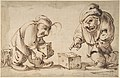 Two Dwarfs Playing Dice, a Dog at Left (recto), Study of a Leg (verso) MET DP808023.jpg