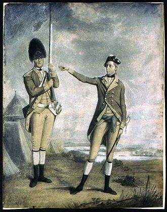 62nd (Wiltshire) Regiment of Foot - Painting depicting a soldier from the grenadier company and an officer of the same regiment. Given the date when the painting was created, 1772 or 1773, as well as the facings, lace and hats, it appears that the two men are from the 62nd Regiment of Foot.