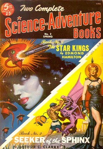 "Clarke's novella ""The Road to the Sea"" was originally published in Two Complete Science-Adventure Books in 1951 as ""Seeker of the Sphinx"" Two complete science adventure books 1951spr n2.jpg"