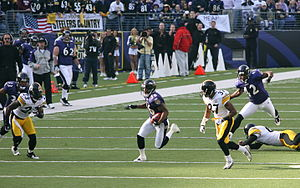 B. J. Sams (American football) - Sams (36) returns a kick against the Pittsburgh Steelers in 2006.