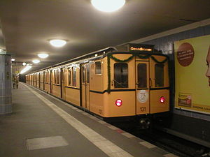 Berlin U-Bahn rolling stock - A BII type train on special service on the 75th anniversary of the U8