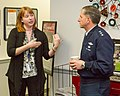 U.S. Air Force Lt. Gen. David Goldfein, right, the director of the Joint Staff, discusses Joint Base Anacostia-Bolling (JBAB) Transition Assistance Program in Washington, Feb. 4, 2014, with Lisa Bauch 140204-N-WY366-001.jpg