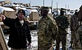U.S. Army Maj. Gen. Darrell Williams, center, the commanding general of the 1st Theater Sustainment Command, visits to observe and discuss retrograde operations at Bagram Airfield, Parwan province, Afghanistan 140207-A-ZA744-091.jpg