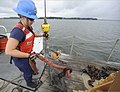 U.S. Coast Guard Seaman Dani Wilson, assigned to Aids to Navigation Team Milford Haven, removes a sling from a sinker aboard a 55-foot aids to navigation boat in Hills Bay near the station in Hudgins, Va 130801-G-RU729-899.jpg