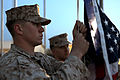 U.S. Marine Corps Cpl. Brett MegarityKoch hoists a U.S. flag at Camp Leatherneck, Helmand province, Afghanistan, March 15, 2013 130315-M-KS710-080.jpg