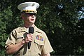 U.S. Marine Corps Maj. Brandon J. Gorman, the commanding officer of Marine Corps Recruiting Station Raleigh, speaks to Marines and distinguished guests during a change of command ceremony at North Carolina State 120620-M-EK802-099.jpg