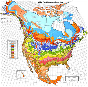 Thematic map - Map of climate and plant hardiness zones.