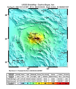 1968 Dasht-e Bayaz and Ferdows earthquakes - USGS Shakemap for the August 31 event